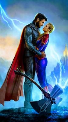 Thor And Captain Marvel 736x1314 Wallpaper Teahub Io