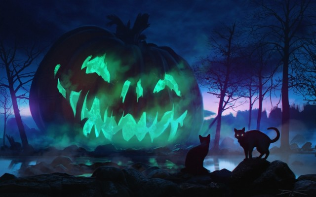 130 1306613 halloween giant pumpkin scary cats dark theme