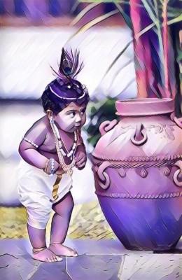 Lord Krishna Baby Paintings 640x1136 Wallpaper Teahub Io