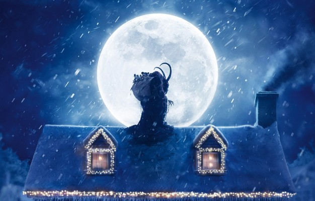 201 2013183 photo wallpaper roof snow decoration night house krampus