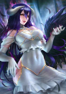 Albedo Overlord Anime Anime Girls Dark Hair Albedo 728x1030 Wallpaper Teahub Io