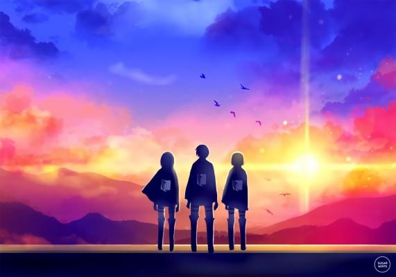 Eren Mikasa And Annie 1500x826 Wallpaper Teahub Io