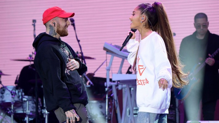 284 2845621 mac miller and ariana grande perform on stage