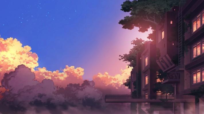 307 3070141 anime landscape building sunset clouds scenic scenery anime