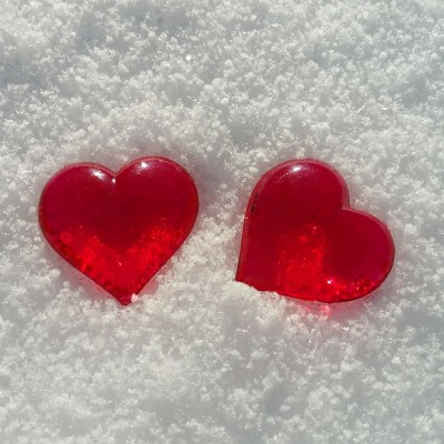 308 3089061 two heart shaped accessories valentine s day snow