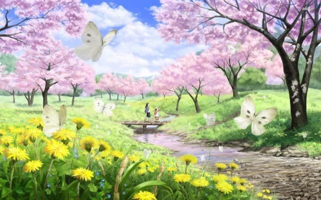 Cherry Blossom Anime Background 1280x720 Wallpaper Teahub Io