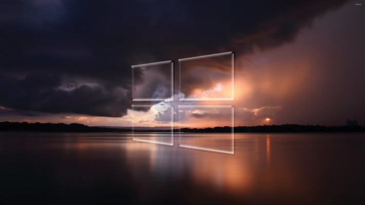 Windows 10 Transparent Logo Over The Stormy Sea Tapety