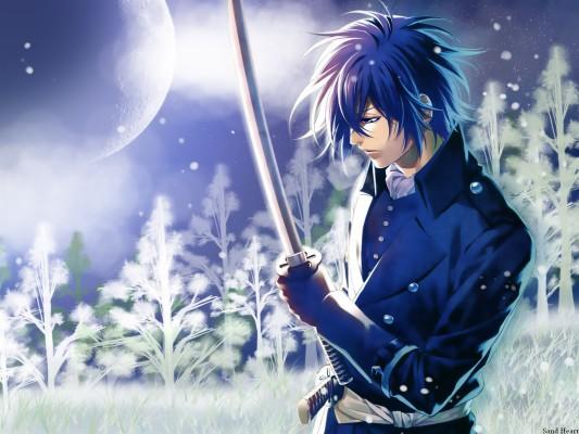 Sword Anime Guy With Blue Hair 1600x1200 Wallpaper Teahub Io