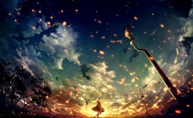 72 728345 anime clouds trees lake sunset wallpapers hd desktop