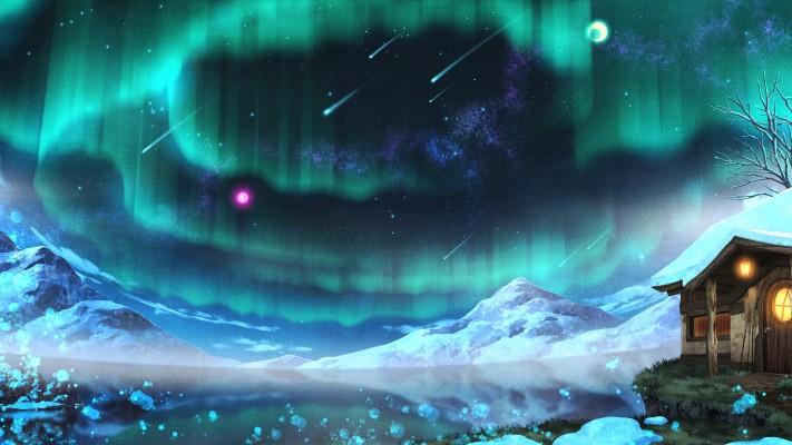 Aurora Borealis Anime Original Artwork Wallpaper 1080p Aurora Borealis 1920x1080 Wallpaper Teahub Io