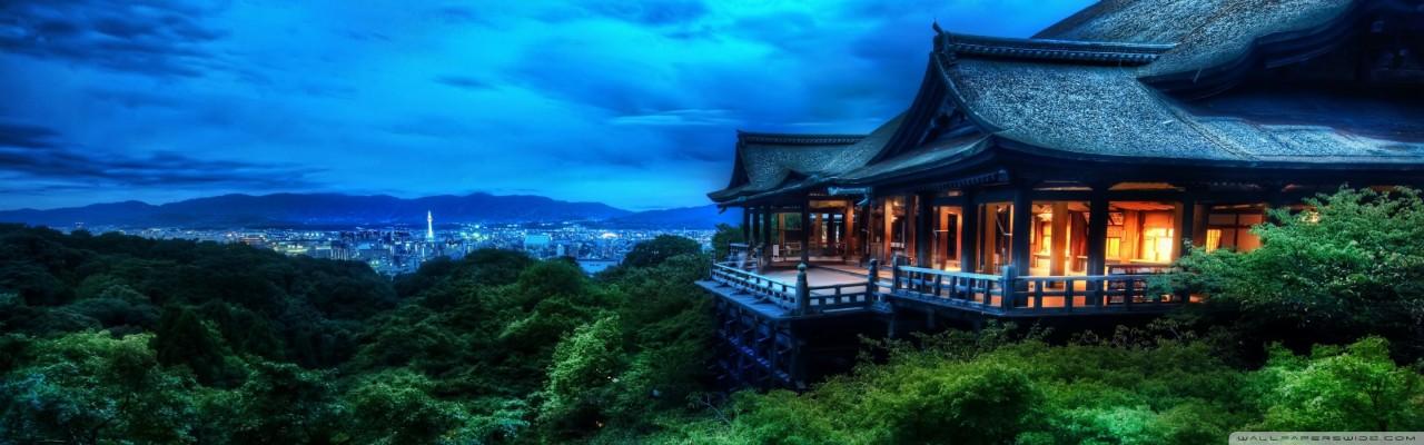 Kyoto Japan At Night 4k Hd Desktop Wallpaper For Kiyomizu Dera 2880x900 Wallpaper Teahub Io